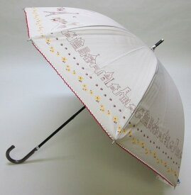(^O^)/☆~~パリのお散歩・キャットシリーズ~~ ☆47cmスライドショート傘★ベージュ★★晴雨兼用傘・UV99%カット・遮光率98.38%以上☆裏側 ゴールドカラー*店頭展示品・ラッピング不可