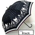 黒猫ニャンとミュージカルブラック☆スライドショート傘ピコレース47cm★★晴雨兼用傘<UV99%カット>