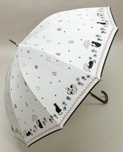 (^O^)/猫の手!!新作!!☆~~Le ciel ブランド春夏新作!! ・・・・黒猫にゃん・と・お散歩・Drop・キラキラ・・~~☆ ホワイト 強風や雪に強い12本傘 ジャンプ式