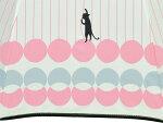 (^O^)/猫の手!!新作!!☆~~Lecielブランド春夏新作!!・・・・なかよし黒猫にゃん・と・お散歩・ヨーロピアン・スタイル新作・・~~☆オフホワイト・水色強風や雪に強い12本傘ジャンプ式