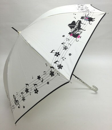 60cm ジャンプ傘 ピアノ・ホワイト・耐風傘 *数量限定販売