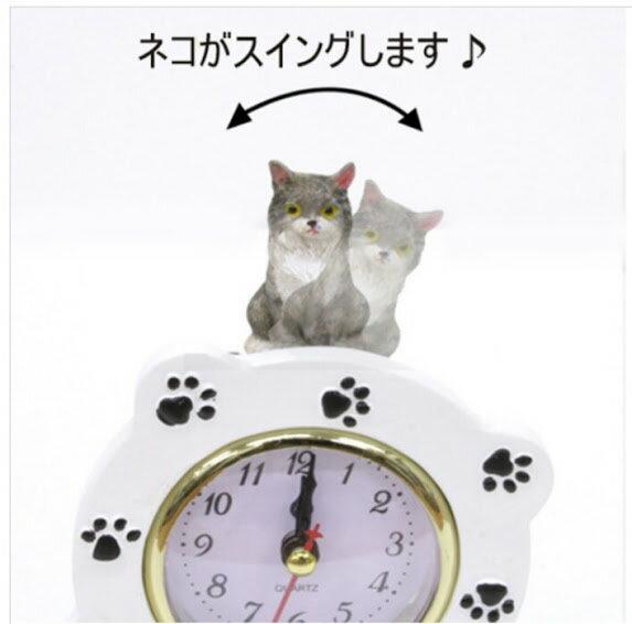 (*^_^*)☆新作!!猫・ふり~~ふり~~今何時だニャ〜♪(=^・・^=)、人気シリーズのNO'1☆~~テーブル時計~~★グレー猫&白・ニャンコ *音楽会,.,.,.一点限り入荷!!