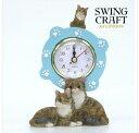 ☆新作!!猫・ふり~~ふり~~今何時だニャ〜♪(=^・・^=)、人気シリーズのNO'1-181☆~~テーブル時計~~★サバトラ・くつしたニャンコ *肉球…
