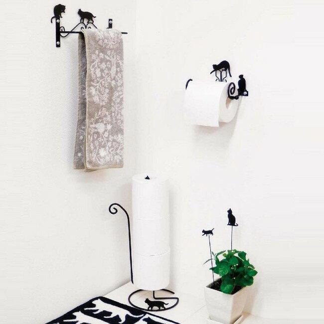 【ネコ】【おしゃれ】な【猫型】ワイヤー☆トイレシリーズ 【CAT】トイレットペーパーホルダー