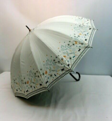 (^O^)/猫の手!!晴雨兼用☆~~春夏新作!! ・・・・黒猫にゃん・と・キャットガーデン・キラキラ・・~~☆ ホワイト 強風や雪に強い16本傘 手開き式 超撥水加工・UV99%カット 高級傘