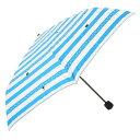 【ネコシリーズ】雨傘 かくれんぼネコボーダー柄<折りたたみ傘>ブルー 送料無料