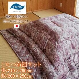 日本製 こたつ布団セット 長方形 大判 特大 210×290cm 掛敷セット インビスタ社 ダクロン FRESH(R) 4穴中わた 軽い 暖かい ホコリが出にくい ふっくら 厚め あったか OK-モアレLL OK-モアレDQL