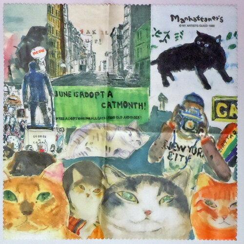 【Manhattaner's】マンハッタナーズ メガネクロスMAN-26★NY猫絵暦6月