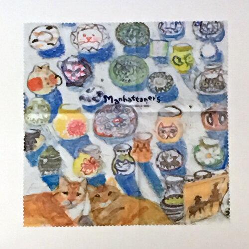 【Manhattaner's】マンハッタナーズ めがねふきMAN-28 フリヒリアナの白い輝きに憩う愛猫たち