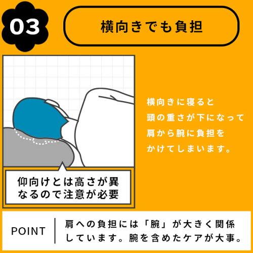 横向きに寝ると、頭の重さが下になって肩から腕に負担をかけてしまいます。肩への負担には、腕を含めたケアが大事。