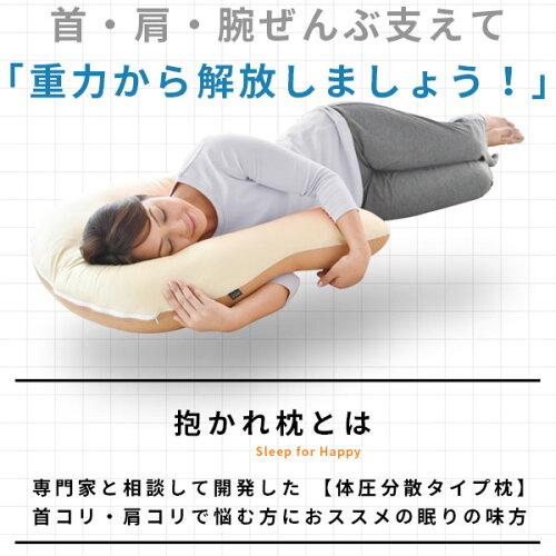 首・肩・腕ぜんぶ支えて重力から解放しましょう。抱かれ枕は、専門家と開発した体圧分散タイプ枕。肩こり。首こりで悩む方におすすめの枕