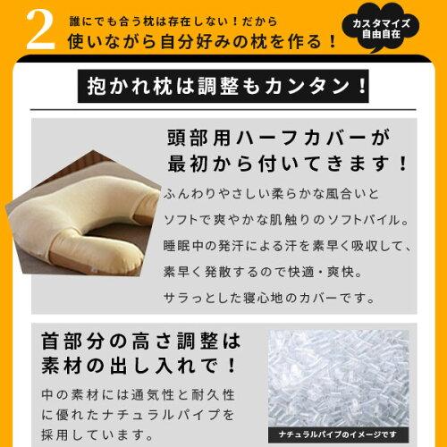 抱かれ枕は調整もカンタン。首部分の高さ調整は素材の出し入れで可能。またふんわりやさしい柔らかな風合いとソフトで爽やかな肌ざわりのパイル生地、頭部用ハーフカバーが付いてきます。