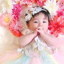 ぽんぽんローズとマカロンカラーのハイドレンジア newborn花冠ヘアバンド 】 花かんむり ヘアアクセサリー 結婚式 子…