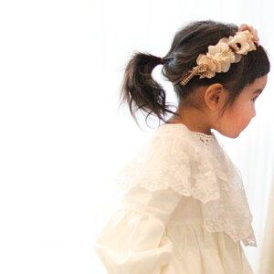 エクリュアナベルとブラウンチェックリボン花冠ヘアバンド】ヘアアクセサリー 赤ちゃん かわいい 結婚式 プレゼント ティアラ 花 花かんむり ベビー