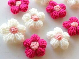 コットン糸の春色編みお花 ベビーヘアゴム(1個)】ベビー ゴム からまないゴム 子ども 花 コットン シリコンゴム ピンク 髪飾り かわいい 女の子 お出かけ
