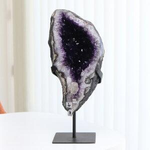 アメジストジオード ウルグアイ産 約4470グラム スタンド付き【クラスター 晶洞 原石 パワーストーン アメジストドーム アメシスト 天然石 2月の誕生石 財運アップ 開運 浄化 紫水晶 風水 癒