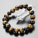 梵字 ブレスレット 守り本尊梵字彫刻(約14ミリ・黒オニキス) 約12ミリ 虎目石【数珠ブレス パワーストーン タイガ…