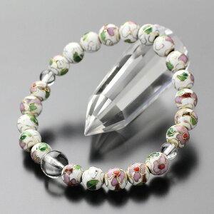 数珠ブレスレット 約8ミリ 七宝焼き(白) 本水晶【パワーストーン 腕輪念珠 天然石 七宝焼 アクセサリー ブレスレット BIM 107080003】