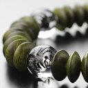 パワーストーン ブレスレット 約12ミリ 龍彫り水晶 平珠 緑檀【パワーストーン 天然石 生命樹 天然木 メンズ レデ…