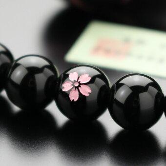 数珠,オニキス,桜彫り