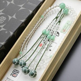 本式数珠,水晶,ビルマ翡翠