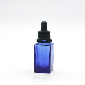 ■遮光瓶(青・角型)10mL(スポイト黒セキュリティ付) 【化粧品容器】 【日本製】 【アロマ 容器】