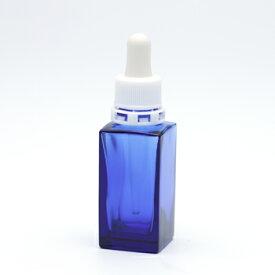 ■遮光瓶(青・角型)30mL(スポイト白セキュリティ付) 【化粧品容器】 【日本製】 【アロマ 容器】