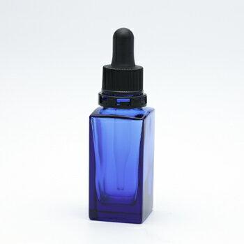 遮光瓶(青・角型)30mL(スポイト黒セキュリティ付) 【化粧品容器】 【日本製】 【アロマ 容器】