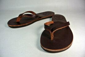 The Sandalman W'S Leather Beach Sandal(Dark Brown) サンダルマン ウィメンズ レザービーチサンダル