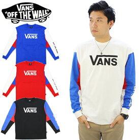 【ポイント10倍】バンズ(VANS)Tricolor Panel L/S Tee メンズ ロング Tシャツ/長袖Tシャツ/ロンT[AA]