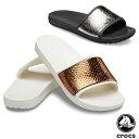 クロックス(CROCS) クロックス スローン メタリック テクスチャー スライド ウィメン(crocs sloane metallic texture …