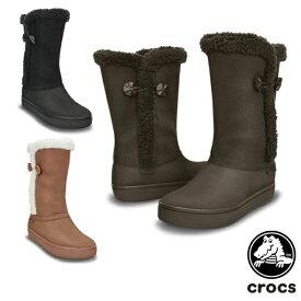 クロックス(CROCS) モデッサ シンセティック スエード ボタン ブーツ ウィメン (Modessa Synthetic Suede Button Boot W)【ウィンター ロング ボア レディース 女性用】 [CC]【70】