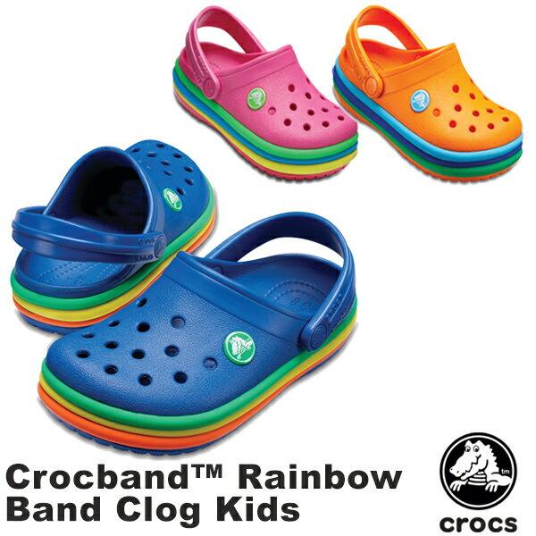 【送料無料】クロックス(CROCS) クロックバンド レインボー バンド クロッグ キッズ(crocband rainbow band clog kids) サンダル【ベビー & キッズ 子供用】【楽ギフ_包装選択】【r】[AA]【20】