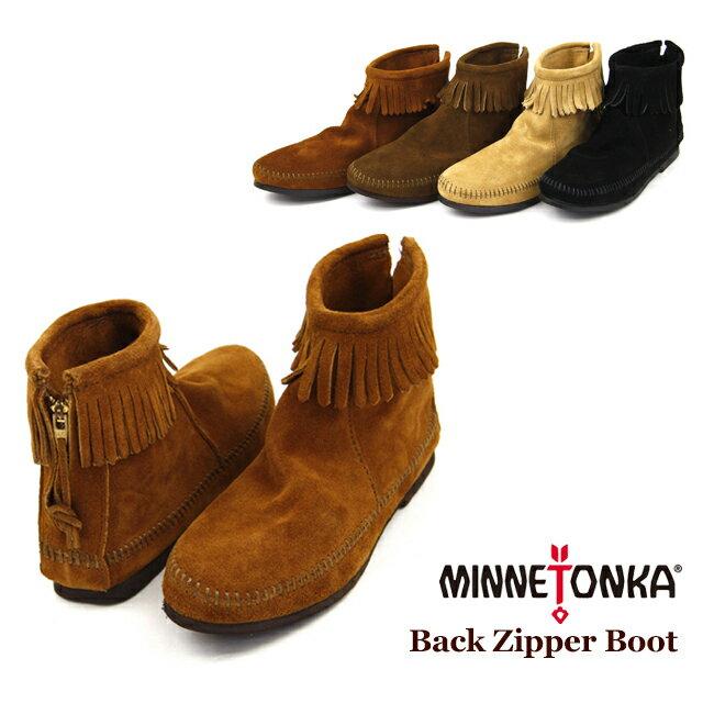 【送料無料】MINNETONKA Back Zipper Boot ミネトンカ バックジッパー スエードブーツ(282-283-287-289)【楽ギフ_包装選択】【r】【38】[AA]