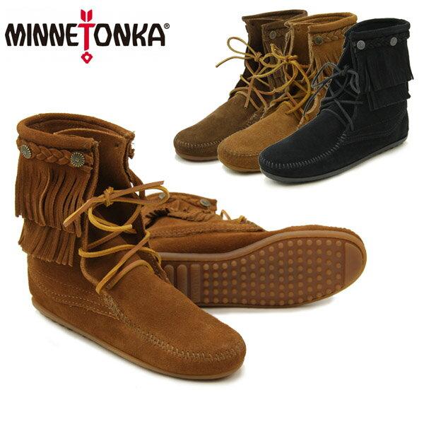 【送料無料】ミネトンカ(MINNETONKA) ダブル フリンジ トランパー ブーツ(Double Fringe Tranper Boot)【楽ギフ_包装選択】【r】【38】[BB]