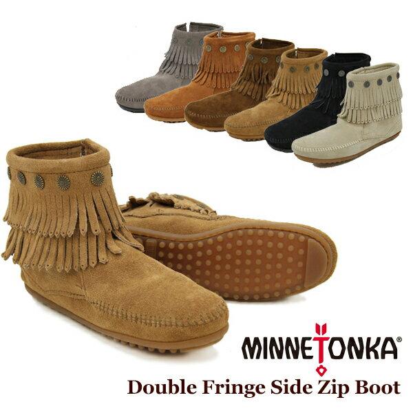 【送料無料】ミネトンカ(MINNETONKA) ダブル フリンジ サイド ジップ ブーツ(Double Fringe Side Zip Boot)【楽ギフ_包装選択】【r】【37】[BB]
