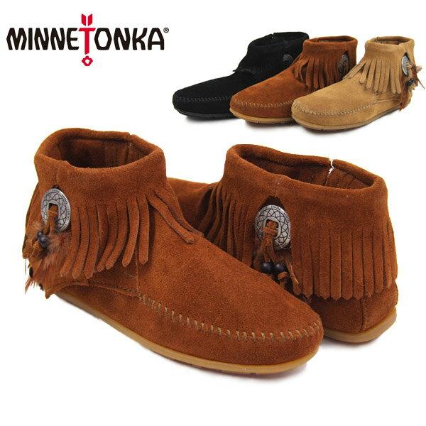 【送料無料】ミネトンカ(MINNETONKA) コンチョ フェザー サイドジップブーツ/スエードブーツ(Concho Feather SideZip)【楽ギフ_包装選択】【r】【38】[BB]