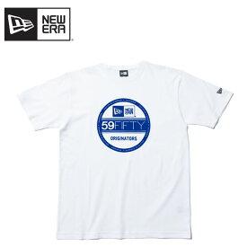 【ポイント10倍】【ゆうパケット送料無料】【国内正規品】ニューエラ(NEW ERA)コットン Tシャツ バイザーステッカー S/SL《White/Blue》 半袖Tシャツ/男性用[AA-2]