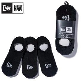ニュー エラ(NEW ERA) ソックス ベリーショート 3ペア 《Black》 靴下/3Pセット ポイント5倍 ゆうパケット可 国内正規品 [AA-3]