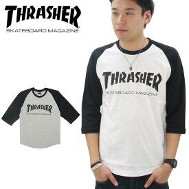 【ポイント10倍】【ゆうパケット送料無料】スラッシャー(THRASHER) MAG LOGO 3/4 BASEBALL TEE (TH8201) メンズ 7分袖 Tシャツ[AA-2]