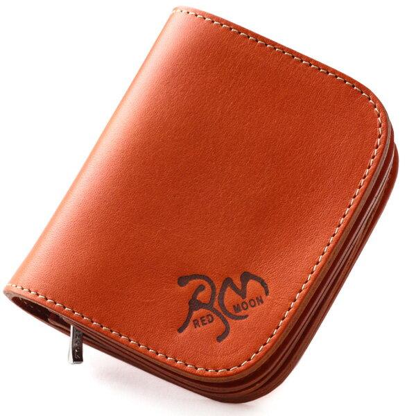 【送料無料】 レッドムーン REDMOON ショートウォレット 2つ折り財布 S-SR01-RM「ストリートラーダース 焼印」 バイカーズ サドルレザー 本革 ハンドメイド 経年変化