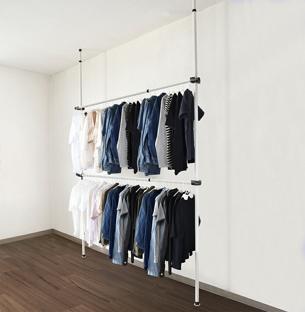 つっぱり ハンガーラック ワイド1.8m 突っ張り ツッパリ ポールハンガー ハンガー ポール ウォールラック 壁面収納 つっぱり棒 ランドリー 洗濯物 洋服 衣服 物干し 収納