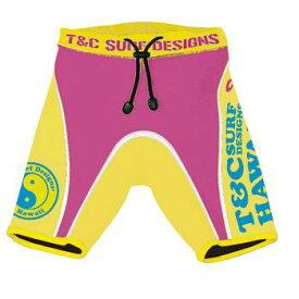 キッズ 子供 T&C ウエットパンツ ローズピンク×イエロー 100cm T&C SURF DESIGNS パンツ