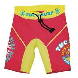 キッズ 子供 T&C チャイルドウェットパンツ レッド 150cm T&C SURF DESIGNS パンツ