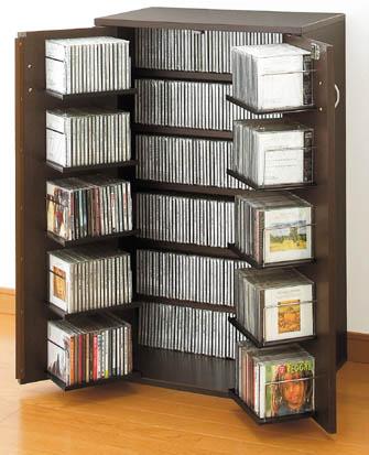 書棚 AV収納 鍵付 収納名人 (CD用) ダーク 日本製