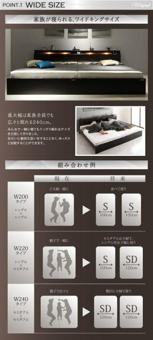 棚・照明・コンセント付モダンデザイン連結ベッドWispendウィスペンド最高級国産ナノポケットコイルマットレス付きAタイプワイドK220(S+SD)フロアベッドファミリーベッド高級感重厚感