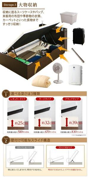 お客様組立通気性抜群スライド本棚付き跳ね上げ収納ベッドBreath-INブレスイン薄型スタンダードポケットコイルマットレス付きシングル深さラージ「収納家具本棚押入れベッドタンスすき間収納長物収納安心の日本製シリンダー」