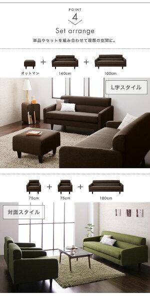 スタンダードソファMilanミランソファ&オットマンセット幅75cm美しい木目包み込まれるような座り心地高品質ソファ