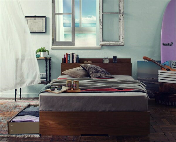 棚・コンセント付き収納ベッド【Arcadia】アーケディアすのこ仕様【ボンネルコイルマットレス:ハード付き】ダブル  「収納ベッド フレーム 天然木 すのこ仕様 棚 コンセント付 引出し収納 」
