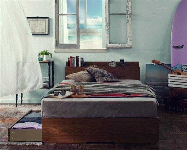 棚・コンセント付き収納ベッド【Arcadia】アーケディアすのこ仕様【国産ポケットコイルマットレス付き】セミダブル  「収納ベッド フレーム 天然木 すのこ仕様 棚 コンセント付 引出し収納 」